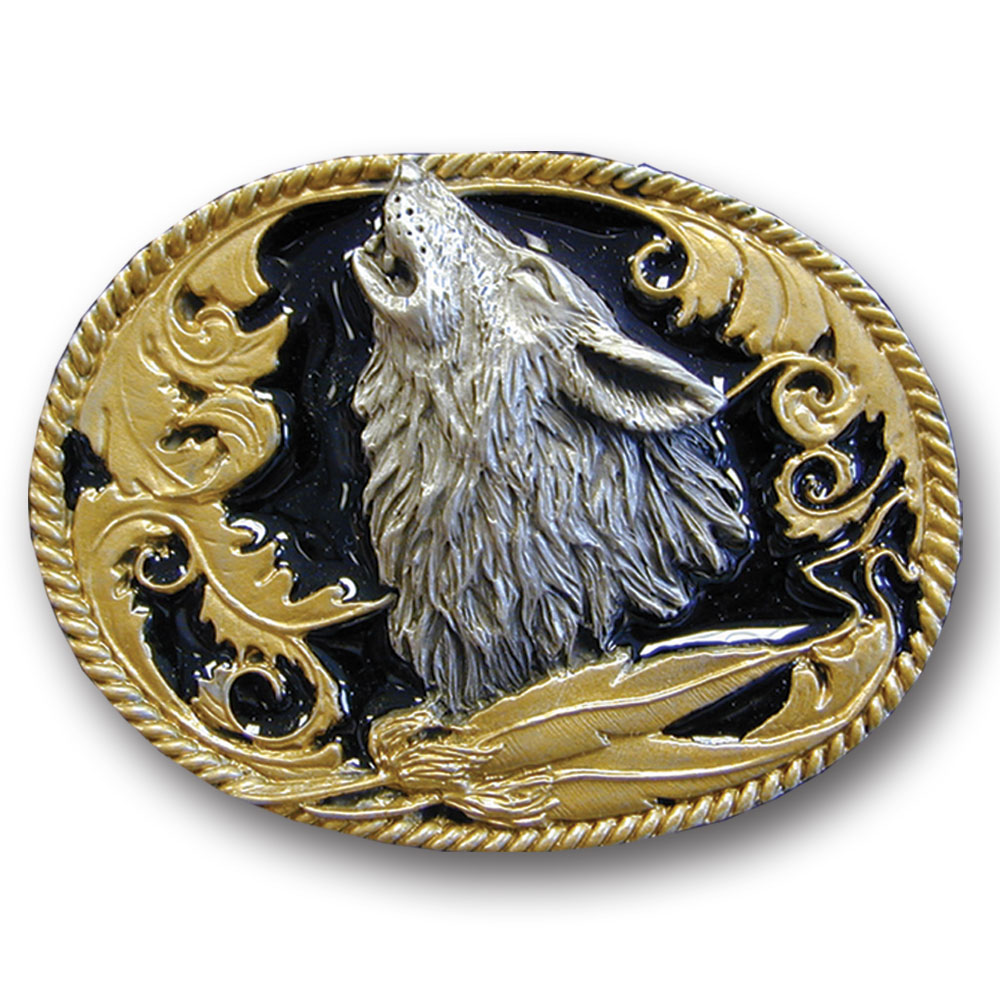 Belt Buckle - Howling Wolf  (Gold Vivatone) - This finely sculpted belt buckle contains exceptional 3D detailing and is finished with gold vivatone. Siskiyou's unique buckle designs often become collector's items and are unequaled with the best craftsmanship.