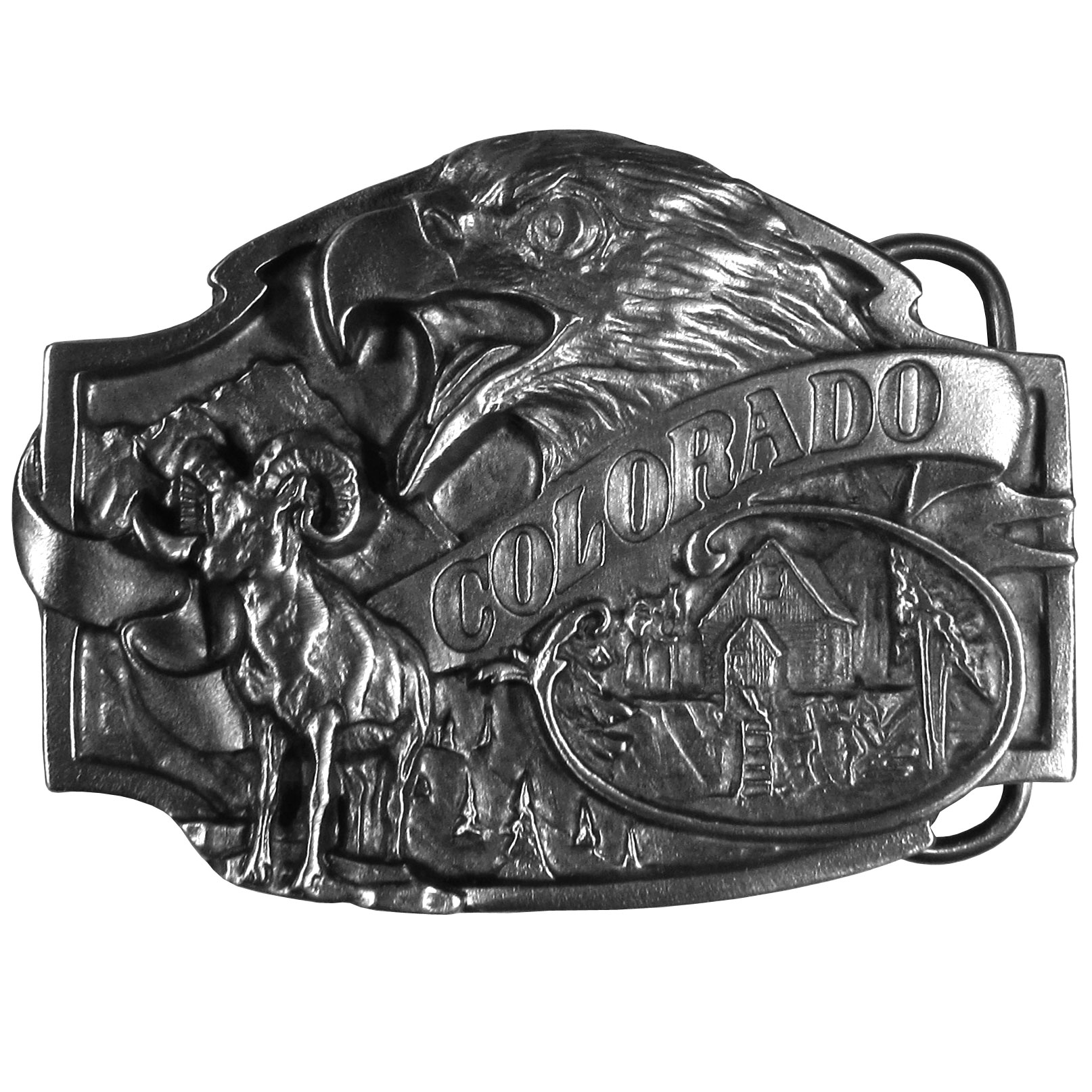 "Colorado Antiqued Belt Buckle - ""Show your love for Colorado with this artistically designed belt buckle with a Colorado banner surrounded by a bighorn sheep, a cabin in the wilderness, an eagle and of course trees.   These exquisetely carved buckles are made of fully cast metal, with a standard bale that fits up to 2"""" belts."""