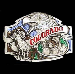 Belt Buckle - Colorado - This finely sculpted and hand enameled belt buckle contains exceptional 3D detailing. Siskiyou's unique buckle designs often become collector's items and are unequaled with the best craftsmanship.
