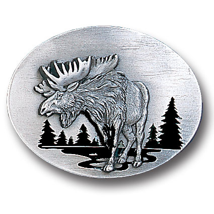 Belt Buckle - Moose in River - This finely sculpted and hand enameled belt buckle contains exceptional 3D detailing. Siskiyou's unique buckle designs often become collector's items and are unequaled with the best craftsmanship.