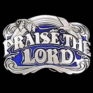 Belt Buckle - Praise The Lord  - This finely sculpted and hand enameled belt buckle contains exceptional 3D detailing. Siskiyou's unique buckle designs often become collector's items and are unequaled with the best craftsmanship.