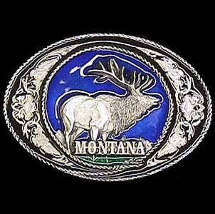 Belt Buckle - Montana Elk with Scroll - This finely sculpted and hand enameled belt buckle contains exceptional 3D detailing. Siskiyou's unique buckle designs often become collector's items and are unequaled with the best craftsmanship.