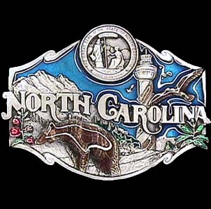 Belt Buckle - North Carolina  - This finely sculpted and hand enameled belt buckle contains exceptional 3D detailing. Siskiyou's unique buckle designs often become collector's items and are unequaled with the best craftsmanship.