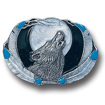 Belt Buckle - Wolf Framed by Feathers - This finely sculpted and hand enameled belt buckle contains exceptional 3D detailing. Siskiyou's unique buckle designs often become collector's items and are unequaled with the best craftsmanship.