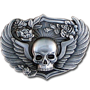 Belt Buckle - Skull & Wings - This finely sculpted and hand enameled belt buckle contains exceptional 3D detailing. Siskiyou's unique buckle designs often become collector's items and are unequaled with the best craftsmanship.