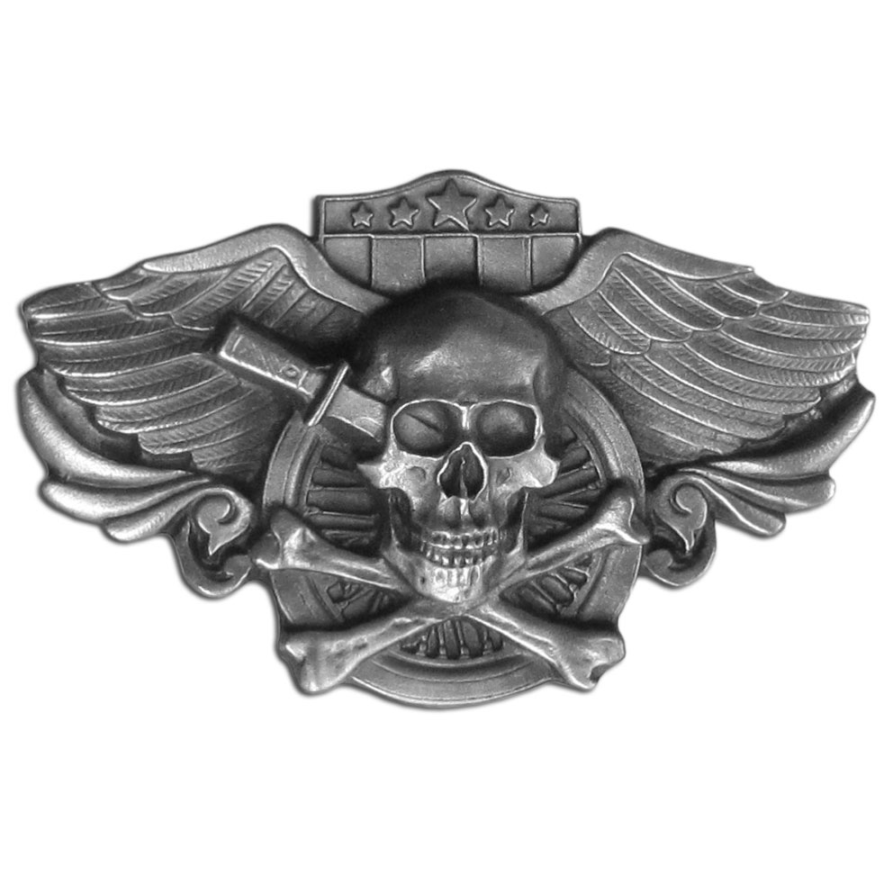 "Winged Skull Antiqued Belt Buckle - ""An intricately designed winged skull antiqued belt buckle.  Design includes a dagger in the skull, crossbones, a motorcycle wheel and stars and stripes.   These exquisetely carved buckles are made of fully cast metal, with a standard bale that fits up to 2"""" belts."""