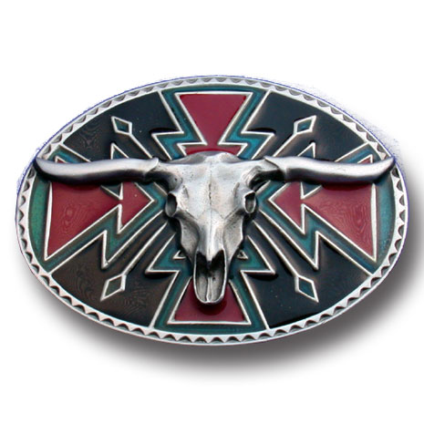 Belt Buckle - Longhorn Skull  - This finely sculpted and hand enameled belt buckle contains exceptional 3D detailing. Siskiyou's unique buckle designs often become collector's items and are unequaled with the best craftsmanship.
