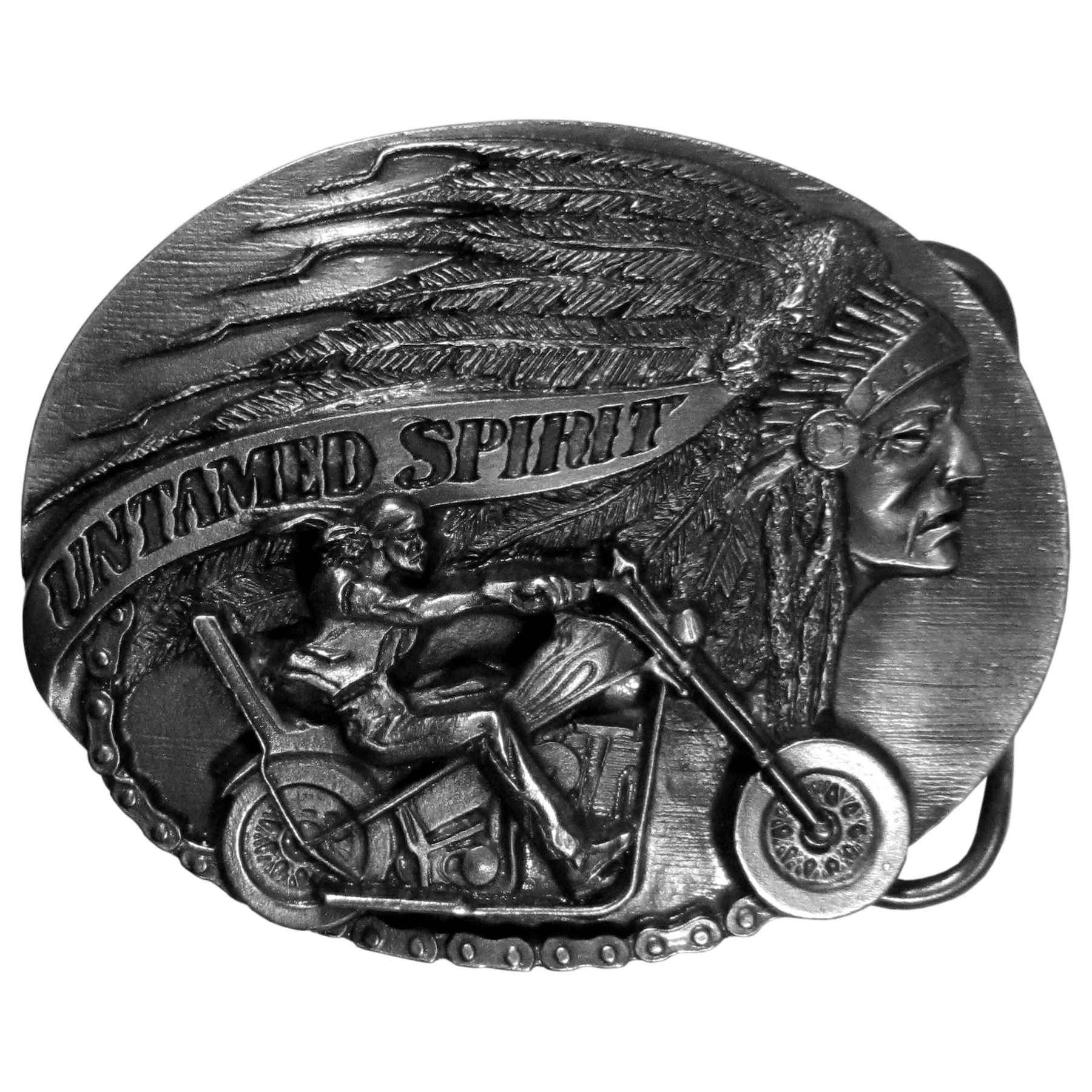 "Untamed Spirit Antiqued Belt Buckle - ""Are you an untamed spirit?  Show your wild side with this antiqued belt buckle with an """"untamed spirit"""" banner, as well as a Native American in full headress and a man on a motorcycle.  These exquisitely carved buckles are made of fully cast metal, with a standard bale that fits up to 2"""" belts."""