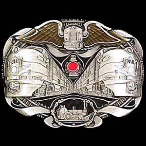 Belt Buckle - Locomotives Train - This finely sculpted and hand enameled Locomotive Train belt buckle contains exceptional 3D detailing. Siskiyou's unique buckle designs often become collector's items and are unequaled with the best craftsmanship.