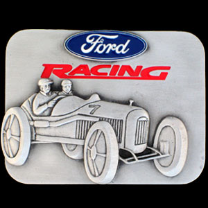 Belt Buckle - Ford Racing with Car - This finely sculpted and hand enameled Ford Racing with Car belt buckle contains exceptional 3D detailing. Siskiyou's unique buckle designs often become collector's items and are unequaled with the best craftsmanship.