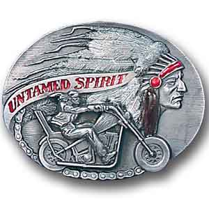 Belt Buckle - Untamed Spirit  - This finely sculpted and hand enameled belt buckle contains exceptional 3D detailing. Siskiyou's unique buckle designs often become collector's items and are unequaled with the best craftsmanship.