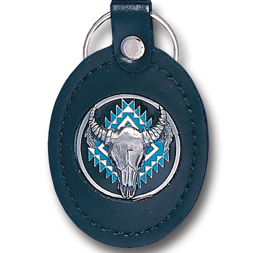 Leather Keychain - Buffalo Skull - This Buffalo Skull key fob combines fine leather surrounding a sculpted & enameled emblem. The intricate design and craftsmanship makes this key ring a unique and long lasting gift.