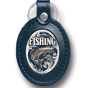 Lg Leather Key Chain - Fishing - This Fishing key fob combines fine leather surrounding a sculpted & enameled emblem. The intricate design and craftsmanship makes this key ring a unique and long lasting gift.