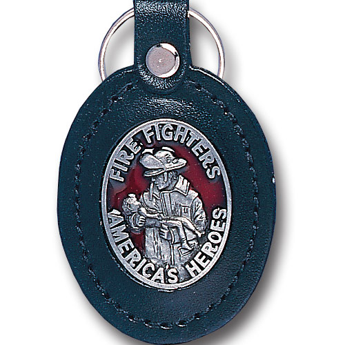 Lg Leather Key Chain - Fire Fighters America's Heroes - This Fire Fighters America's Heroes key fob combines fine leather surrounding a sculpted & enameled emblem. The intricate design and craftsmanship makes this key ring a unique and long lasting gift.