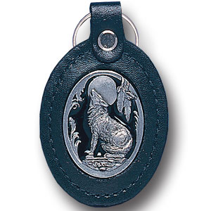 Lg Leather Key Chain - Wolf - This wolf key ring combines fine leather surrounding a sculpted & enameled emblem. The intricate design and craftsmanship makes this key ring a unique and long lasting gift.