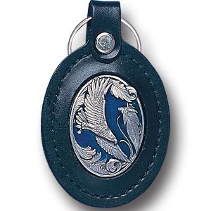 Lg Leather Key Chain - Scroll Eagle - This Scroll Eagle key fob combines fine leather surrounding a sculpted & enameled emblem. The intricate design and craftsmanship makes this key ring a unique and long lasting gift.