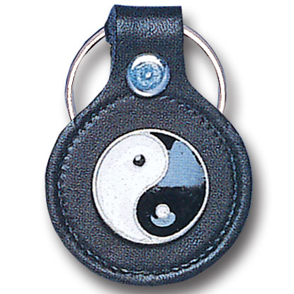 Round Leather Key Ring - Yin Yang - This round leather key ring are detailed with a hand enameled finish featuring a Yin Yang emblem.
