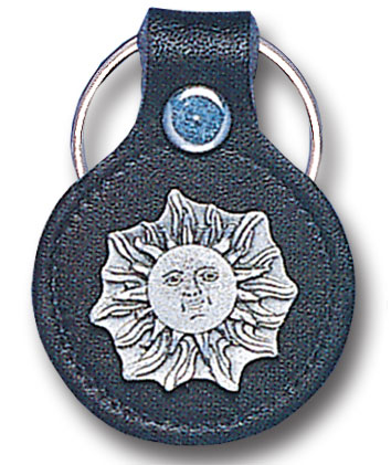 Round Leather Key Ring - Sun - This round leather key ring are detailed with a hand enameled finish featuring a Sun emblem.