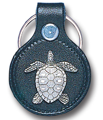 Round Leather Key Ring - Turtle - This round leather key ring are detailed with a hand enameled finish featuring a Turtle emblem.