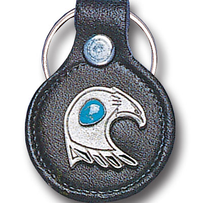 Round Leather Key Ring - Southwest Eagle - This round leather key ring are detailed with a hand enameled finish featuring a Southwest Eagle emblem.