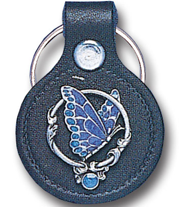 Round Leather Key Ring - Butterfly - This round leather key ring are detailed with a hand enameled finish featuring a Butterfly emblem.