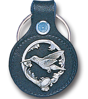 Round Leather Key Ring - Hummingbird - This round leather key ring are detailed with a hand enameled finish featuring a Hummingbird emblem.