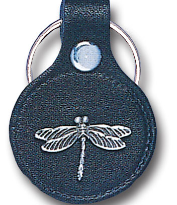 Round Leather Key Ring - Dragonfly - This round leather key ring are detailed with a hand enameled finish featuring a Dragonfly emblem.