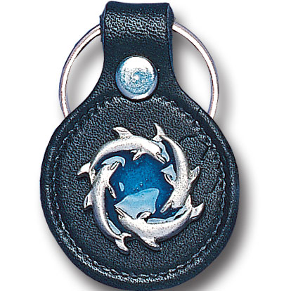 Round Leather Key Ring - Circle of Dolphins - This round leather key ring are detailed with a hand enameled finish featuring a Circle of Dolphins emblem.