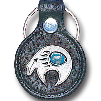 Round Leather Key Ring - Southwest Bear - This round leather key ring are detailed with a hand enameled finish featuring a Southwest Bear emblem.