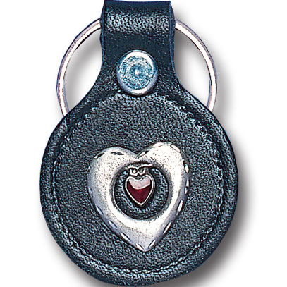 Round Leather Key Ring - Heart in Heart - This round leather key ring are detailed with a hand enameled finish featuring a Heart in Heart emblem.