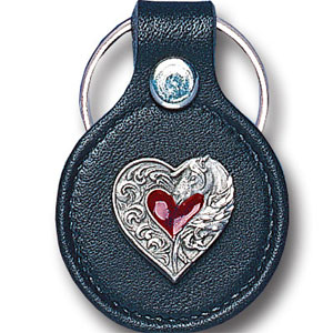 Round Leather Key Ring - Heart & Horse head - This round leather key ring are detailed with a hand enameled finish featuring a Heart & Horse head emblem.