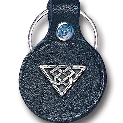 Round Leather Key Ring - Celtic Triangle - This round leather key ring are detailed with a hand enameled finish featuring a Celtic Triangle emblem.
