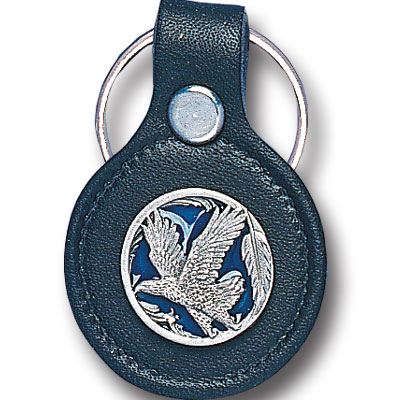 Round Leather Key Ring - Eagle in Circle - This round leather key ring are detailed with a hand enameled finish featuring a Eagle in Circle emblem.