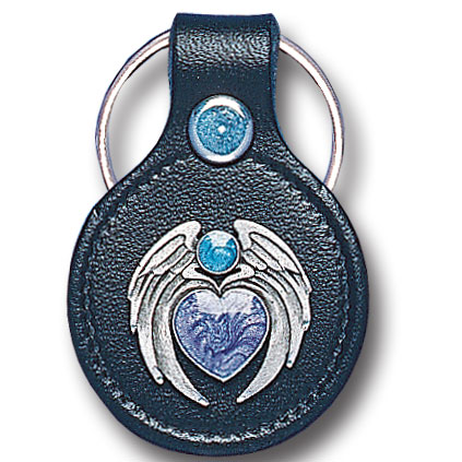Round Leather Key Ring - Heart & Wings - This round leather key ring are detailed with a hand enameled finish featuring a Heart & Wings emblem.