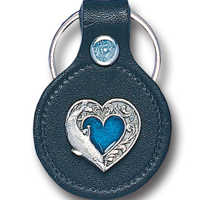 Round Leather Key Ring - Heart & Dolphin - This round leather key ring are detailed with a hand enameled finish featuring a Heart & Dolphin emblem.