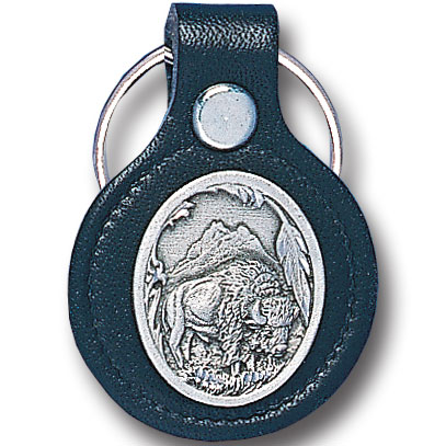 Round Leather Key Ring - Bison - This round leather key ring are detailed with a hand enameled finish featuring a Bison emblem.