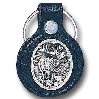 Round Leather Key Ring - Elk - This round leather key ring are detailed with a hand enameled finish featuring a Elk emblem.