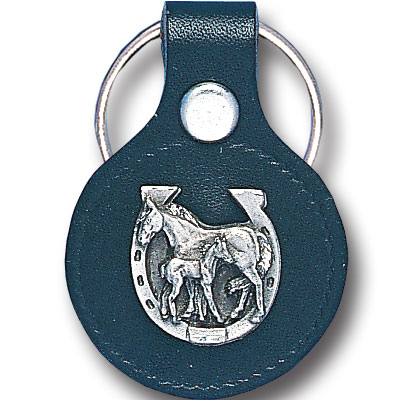 Round Leather Key Ring - Mare - This round leather key ring are detailed with a hand enameled finish featuring a Mare emblem.