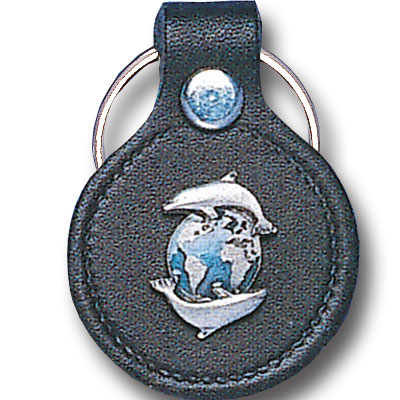 Round Leather Key Ring - Dolphins & Earth - This round leather key ring are detailed with a hand enameled finish featuring a Dolphins & Earth emblem.