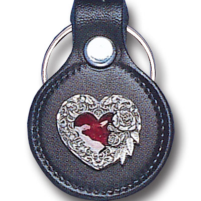 Round Leather Key Ring - Scroll Heart - This round leather key ring are detailed with a hand enameled finish featuring a Scroll Heart emblem.