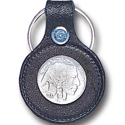 Leather Keychain - Indian Head Nickel - This round leather key ring are detailed with a hand enameled finish featuring a Indian Head Nickel emblem.