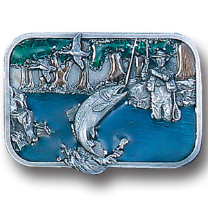 Belt Buckle - Wading Fisherman - This finely sculpted and hand enameled Wading Fisherman belt buckle contains exceptional 3D detailing. Siskiyou's unique buckle designs often become collector's items and are unequaled with the best craftsmanship.