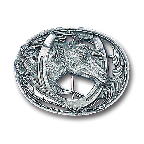 Belt Buckle - Horse (Diamond Cut and Cut Out) - This finely sculpted and diamond cut and cutout  belt buckle contains exceptional 3D detailing. Siskiyou's unique buckle designs often become collector's items and are unequaled with the best craftsmanship.