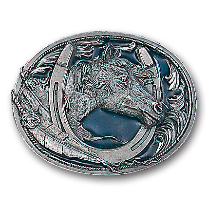 Belt Buckle - Horse Head in Horseshoe - This finely sculpted and hand enameled belt buckle contains exceptional 3D detailing. Siskiyou's unique buckle designs often become collector's items and are unequaled with the best craftsmanship.