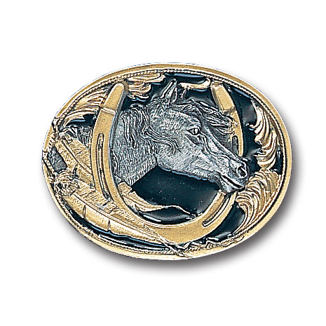 Belt Buckle - Horse Head (Gold Vivatone) - This finely sculpted and gold vivatone enameled belt buckle contains exceptional 3D detailing. Siskiyou's unique buckle designs often become collector's items and are unequaled with the best craftsmanship.