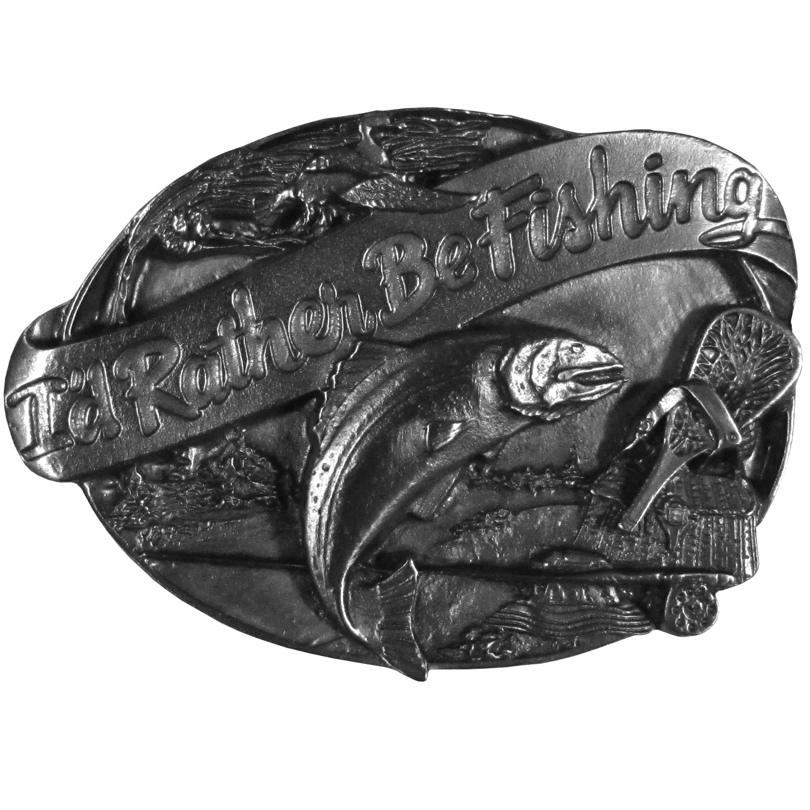 "Rather Be Fishing Antiqued Belt Buckle - ""This antiqued buckle sports a banner with the words, """"I'd Rather Be Fishing"""" surrounded by a fish jumping from the water, a duck in the sky and a wicker fishing creel, net and fishing pole.  This exquistely carved buckle is made of fully cast metal with a standard bale that fits up to 2"""" belts."""