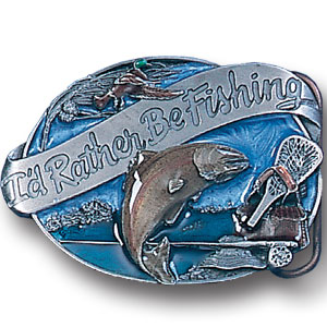 Belt Buckle - I'd  Rather be Fishing  - This finely sculpted and hand enameled fishing belt buckle contains exceptional 3D detailing. Siskiyou's unique buckle designs often become collector's items and are unequaled with the best craftsmanship.