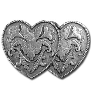 Belt Buckle - Double Heart - Finely sculpted and intricately designed belt buckle. Our unique designs often become collector's items. Check out our entire line of  belt buckles.