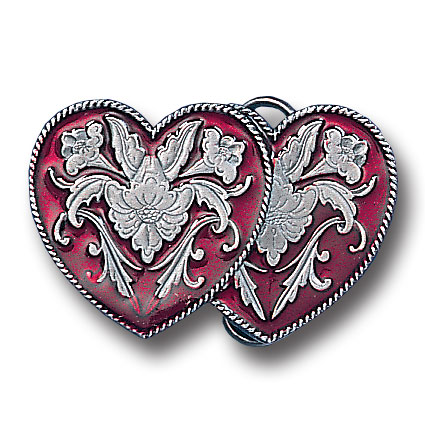 Belt Buckle - Western Double Heart  - This finely sculpted and hand enameled belt buckle contains exceptional 3D detailing. Siskiyou's unique buckle designs often become collector's items and are unequaled with the best craftsmanship.