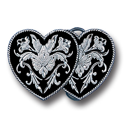 Belt Buckle - Double Heart (Diamond Cut) - This finely sculpted belt buckle contains exceptional 3D detailing and diamond cut accents. Siskiyou's unique buckle designs often become collector's items and are unequaled with the best craftsmanship.